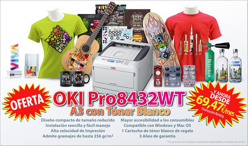 Nueva Impresora laser A3 con Tóner Blanco OKI Pro8432WT