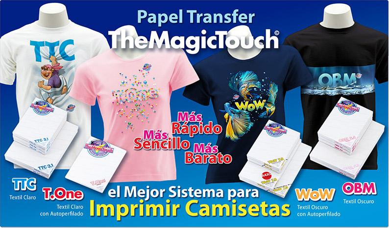Gama de Papeles Transfer Láser TheMagicTouch para Imprimir Camisetas